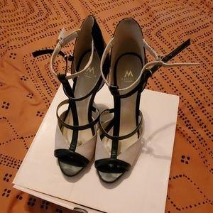 Strappy color block heels
